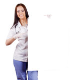 Woman doctor with placard. Isolated. Royalty Free Stock Images