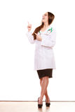 Woman doctor pointing copyspace. Health care. Royalty Free Stock Photography