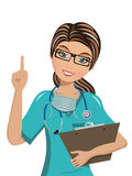 Woman Doctor pointing finger up Isolated Stock Photo