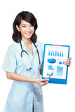 Woman doctor presenting documents Royalty Free Stock Photo