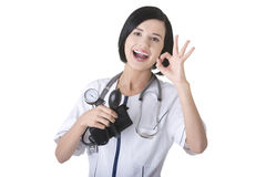 Woman doctor with pressure gauge Stock Image