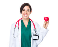 Woman doctor show with heat ball Royalty Free Stock Image