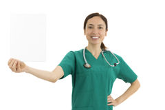 Woman doctor showing blank board with copy space Stock Photography