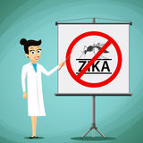 Woman doctor showing on the board prohibition sign with a mosqui Royalty Free Stock Image