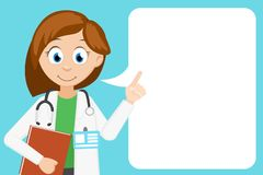 Woman doctor speaks and points her finger at the place for your text. Medical banner stock illustration