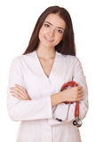Woman doctor with stethoscope Royalty Free Stock Photos