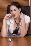 Woman doctor stethoscope cigar Royalty Free Stock Photography