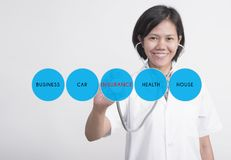 Woman doctor with stethoscope in hand check health and medical royalty free stock images
