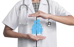 Woman doctor with stethoscope hand protection family icon. Concept health insurance Royalty Free Stock Image