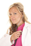 Woman doctor stethoscope listen smile Stock Photos
