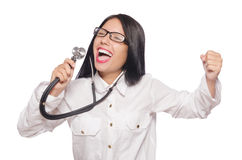 The woman doctor with stethoscope on white Royalty Free Stock Photo