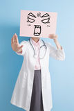 Woman doctor take angry billboard Royalty Free Stock Photos