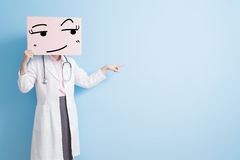 Woman doctor take look billboard Stock Photos