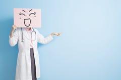 Woman doctor take smile billboard Stock Image