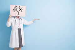 Woman doctor take surprise billboard Stock Photography