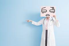 Woman doctor take tired billboard Stock Photo