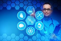 The woman doctor in telemedicine futuristic concept. Woman doctor in telemedicine futuristic concept Royalty Free Stock Photography