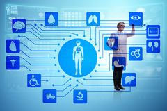 The woman doctor in telemedicine futuristic concept. Woman doctor in telemedicine futuristic concept Royalty Free Stock Photo