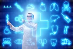 The woman doctor in telemedicine futuristic concept. Woman doctor in telemedicine futuristic concept Stock Photos