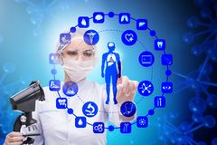 The woman doctor in telemedicine futuristic concept. Woman doctor in telemedicine futuristic concept Royalty Free Stock Image