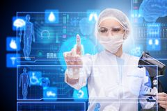The woman doctor in telemedicine futuristic concept. Woman doctor in telemedicine futuristic concept Royalty Free Stock Photos