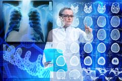 The woman doctor in telemedicine futuristic concept royalty free stock photos