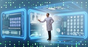 The woman doctor in telemedicine mhealth concept. Woman doctor in telemedicine mhealth concept Stock Image