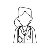 Woman doctor therapist stethoscope diagnosis outline Stock Photos