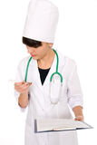 Woman doctor with a thermometer Royalty Free Stock Photos