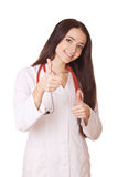 Woman doctor with thumbs up Royalty Free Stock Image