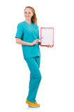 Woman-doctor in uniform with binder Stock Photos