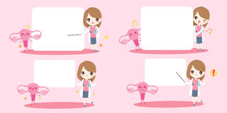 Woman doctor with uterus. Cute cartoon woman doctor with uterus on pink background royalty free illustration