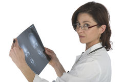 Woman doctor whit radiography a over white backgro Royalty Free Stock Photography