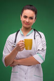 Woman doctor in white smock Royalty Free Stock Photos