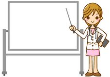 Woman doctor and Whiteboard. This is an illustration of a woman doctor and Whiteboard Royalty Free Stock Photography