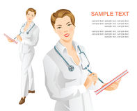 Woman doctor. Write in document. Smiling woman with stethoscope in medical clothing Royalty Free Stock Photos