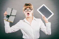 Woman with document and tablet. Digital storage. Stock Photos