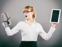 Woman with document and tablet. Digital storage. Stock Photography