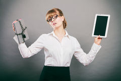 Woman with document and tablet. Digital storage. Royalty Free Stock Image