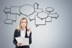 Woman with documents and flow chart Royalty Free Stock Images