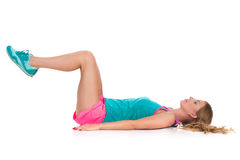 Woman Does Crunches Ab Workout Royalty Free Stock Photos