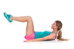 Woman Does Crunches Ab Workout Stock Photos