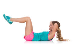Woman Does Crunches Ab Workout Royalty Free Stock Image