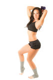 Woman does exercise with dumbbells. On white background Fitness and sport stock photo