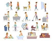 Woman does daily home chores, housekeeping, househod activities like washing vacuum cleaning shopping cooking take care, playing w. Ith child, lying exhausted on royalty free illustration