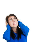 Woman doesn't like loud noise Royalty Free Stock Images