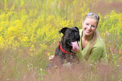 Woman with dog Royalty Free Stock Photo