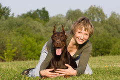 Woman and dog Royalty Free Stock Photos