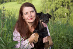 The woman with a dog Stock Photo