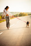 Woman and dog. Young woman walk with dog on the road, summer day sunset Royalty Free Stock Image